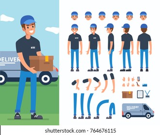 Delivery man  character constructor and objects for animation scene.  Set of various men's poses, faces, hands, legs. Flat style vector illustration isolated on white background.