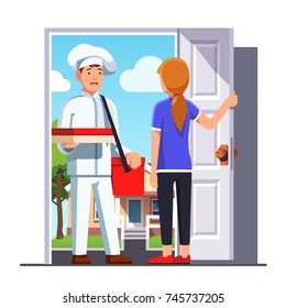 Delivery man in chef cook uniform & hat with shoulder bag on belt holding pizza delivery box in right hand delivered to customer woman house door. Flat vector illustration isolated on white background