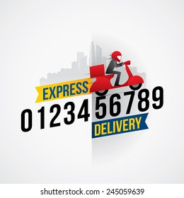 Delivery man courier service with call number icon