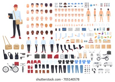 Delivery man creation set or building kit. Bundle of cartoon character's body parts in different postures, details, tools isolated on white background. Vector illustration front, side, back view.