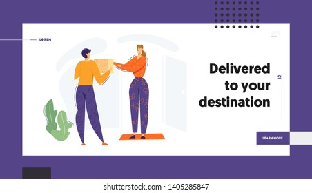 Delivery Man Giving Box to the Client Website Banner. Delivery Shipping Service Concept with Courier Man Character  and Parcel, Woman Receiving Package Landing Page. Vector flat illustration