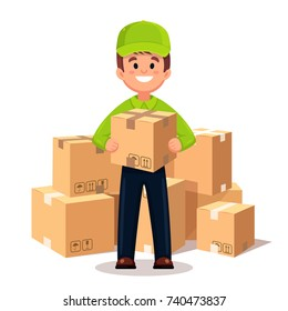 Delivery man, guy with cardboard box. Postman in cap isolated on white background. Courier in hat and uniform with package, parcel. Postal, mail service. Vector illustration. Flat cartoon design