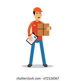 Delivery man holding cardbox and check list, courier in uniform at work cartoon character vector Illustration