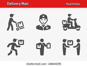 Delivery Man Icons. Professional, pixel perfect icons optimized for both large and small resolutions. EPS 8 format.