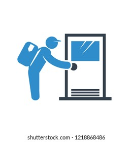 delivery man knocking a door icon on white background