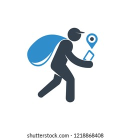 delivery man monitoring and tracking GPS on smartphone icon on white background