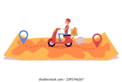 Delivery man on scooter riding over map and shipping box cartoon style, vector illustration isolated on white background. Male courier driving motorbike from one point to other, food delivery service