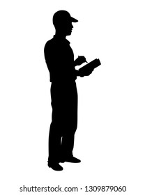 Delivery man with pen and notebook silhouette vector