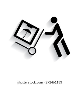 Delivery man pushing a cargo hand truck, vector icon. with shadow