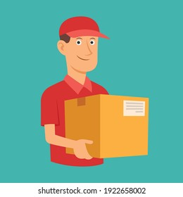 Delivery man red uniform holding box, Business delivery goods express service, Flat design for apps and websites, Vector illustration