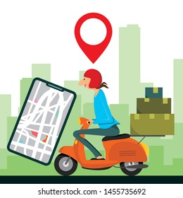 Delivery man ride Motorcycle and Order from phone. vector illustration