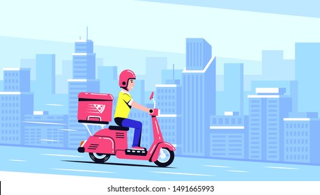 Delivery Man Ride Scooter Motorcycle with a box. Food delivery service concept. Flat style illustration.