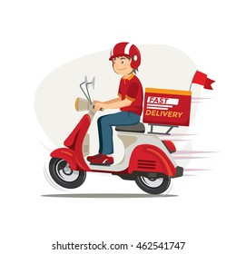 Delivery Man Ride Scooter Motorcycle Cartoon Vector illustration