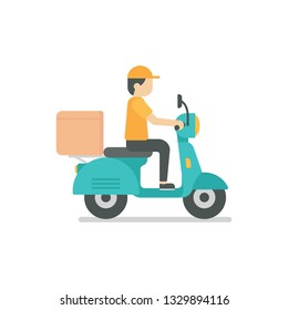 Delivery man riding a blue scooter vector ilustration