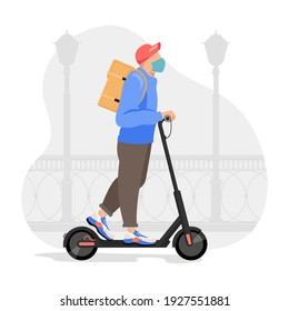 Delivery man riding an electric scooter. Courier on scooter delivering food vector illustration. - Shutterstock ID 1927551881