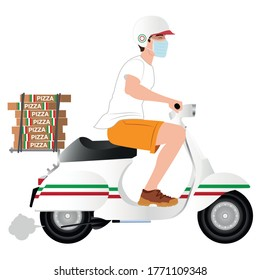 Un livreur à bord de son scooter italien qui livre des pizzas illustration. Distributeur de nourriture image vectorielle. Livraison de pizza