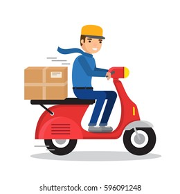 Delivery man riding red motor bike. Flat style illustration