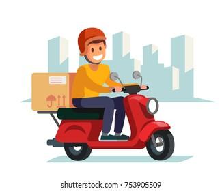 Delivery man riding red motor bike. Flat illustration