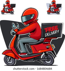 Delivery man riding a scooter. Free delivery. Cartoon illustration