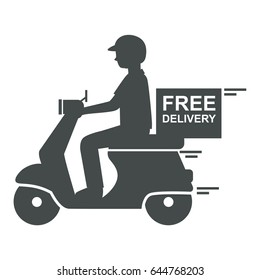 Delivery man riding scooter icon with text free delivery, vector
