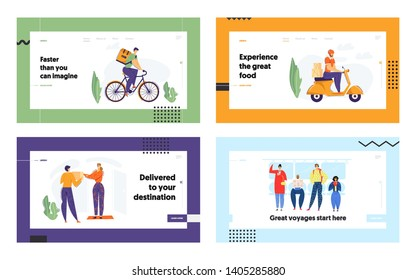 Delivery Man Riding Scooter with Package Landing Page. Fast Delivery Shipping Service Concept with Character on Motorbike. Passengers in Underground Tube. Vector flat cartoon illustration