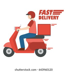 Delivery man riding scooter with text fast delivery, vector