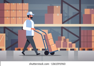 delivery man rolling cardboard box cargo trolley pushcart courier carrying parcels on hand truck warehouse room interior male cartoon character flat horizontal