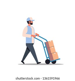 delivery man rolling cardboard box cargo trolley pushcart courier carrying parcels on hand truck warehouse worker male cartoon character full length flat isolated