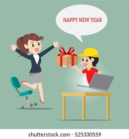 Delivery man service send thing or gift to businesswoman at office and home  for happy new year,surprise and important day.