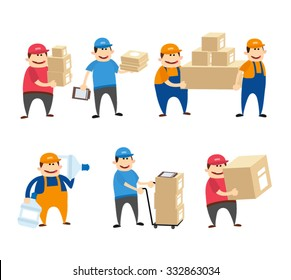 Delivery man set. delivery man with box. postman with parcel