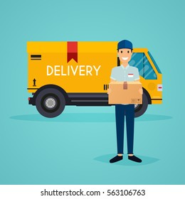Delivery man  and track. Flat design modern vector illustration concept.
