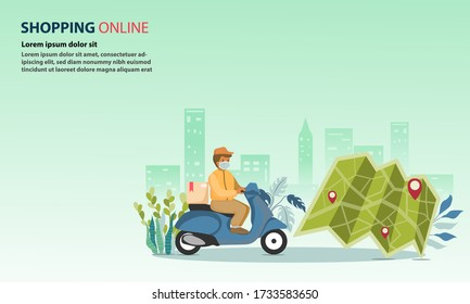 Delivery man use face mask receive order from customers who are shopping online and looking at the map for delivery.The delivery man rides a motorcycle to deliver the package. - Shutterstock ID 1733583650
