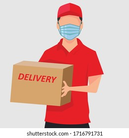 Delivery man vector portrait concept with man wearing red delivery uniform, while holding a delivery package box in the white background