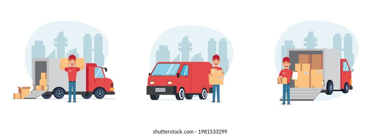 Delivery man with vehicles. Service boy, courier package. Male character with truck. Employee holding box. Postal guys vector set