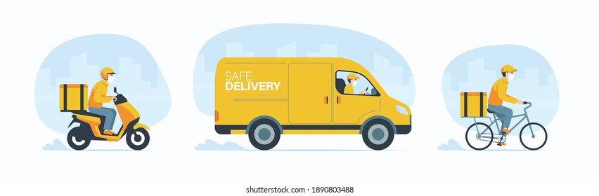 Delivery man wear face mask for Covid-19 protection, Online delivery vehicle set, Food order app. E-commerce concept