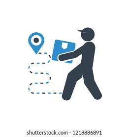 delivery man and worker carry a box and GPS