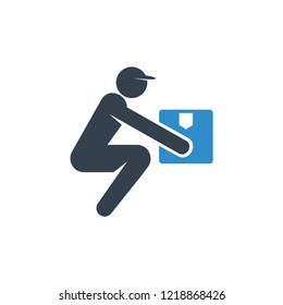 delivery man and worker lift a box icon on white background