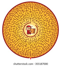 Delivery man's Round Maze Game (help the Delivery man escape the maze - Maze vector puzzle)