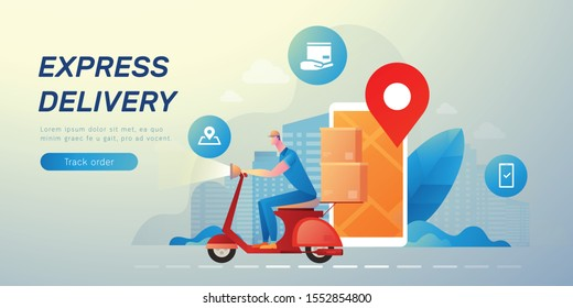 Delivery messenger vector illustration with text layout