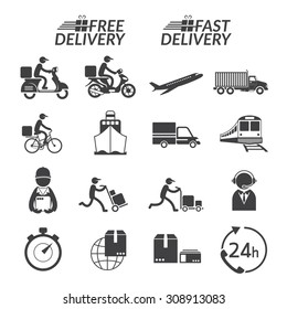 Delivery Monochrome Icons Set, Shipping, Transport, Order, Service, Fast and Free