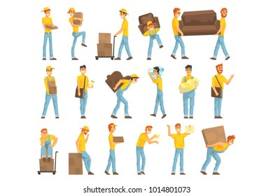 Delivery And Moving Company Employees Carrying Heavy Objects, Delivering Shipments Helping With Resettlement Set OF Illustrations