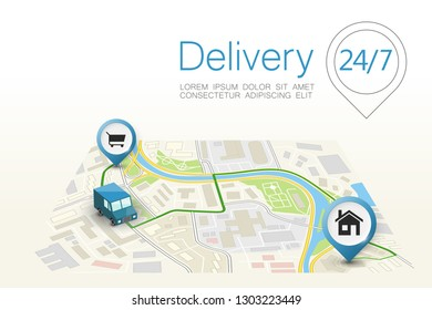 Delivery navigation route, City map point marker isometric delivery van, schema itinerary delivery car, city plan GPS navigation itinerary destination arrow city map Route check point business graphic