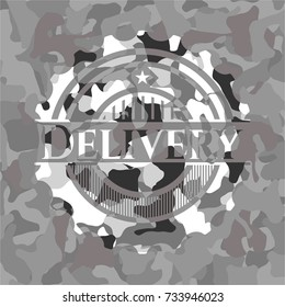 Delivery on grey camo texture