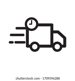 Delivery on time symbol. clock and truck icon. design template vector