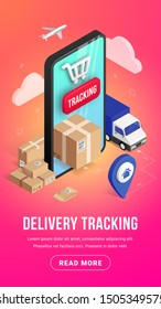 Delivery online tracking isometric vertical banner concept with smartphone, parcel box, truck, pin on gradient background. Logistic service 3d design. Vector illustration for web, mobile app, advert