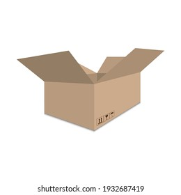 Delivery open box isolated on white background. Vector illustration