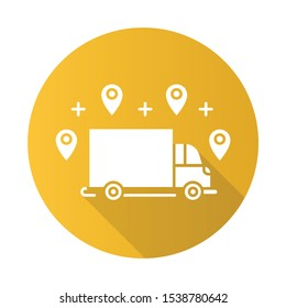 Delivery option yellow flat design long shadow glyph icon. Online order tracking. Shipping truck with location marks. Delivery service. Logistics and distribution. Vector silhouette illustration