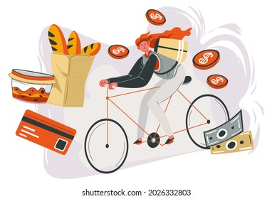Delivery of ordered food and dishes, woman on bicycle riding to destination. Freshly baked baguette on package, salad in container. Getting money for quick transportation, vector in flat style