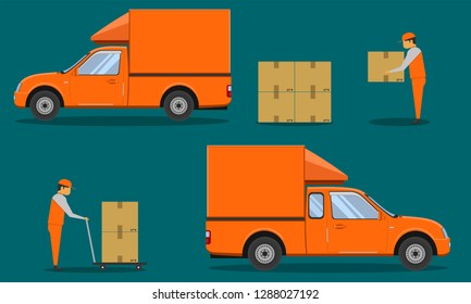 delivery organge pickup cab car with man hole the box case crate packing vector illustration eps10