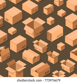 Delivery packaging boxes seamless pattern. Postal design with empty opened and closed cardboard boxes vector illustration. Commercial delivery tare, goods package, shipping containers background.